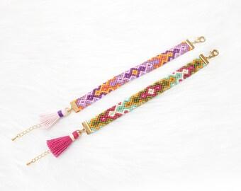 Summer Friendship Bracelets, Woven Bracelets for Women, Beach Bracelets with Tassel, Aztec Bracelets, Flat Braid Bracelets for Girls