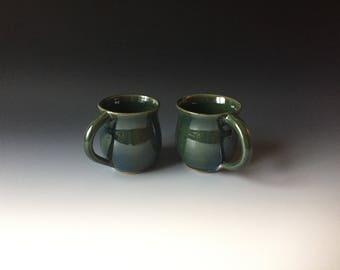 Set of 2 green stoneware mugs