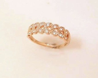 Rose Gold Band Ring   Austria Crystal ring, leaf crown ring, simple band ring, delicate ring, 18k gold plated band ring, in size 6, 7, 8