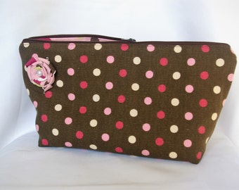 Large Flat Bottom Cosmetic Bag in Brown and Pink...The Adelaide Collection