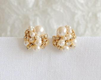 Gold Pearl Cluster Bridal Earrings, Swarovski Crystal and Pearl Stud Earrings, Retro Vintage Style Pearl Earrings, Bridal Jewelry, ASTER