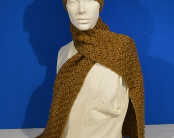 Scarf and Headband Cafe Latte Set Winter Wear Winter Accessories Womens Apparel Warm Scarf Ear Cover