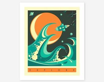 EXPLORE (Giclée Fine Art Print/Photo Print/Poster Print) blue version