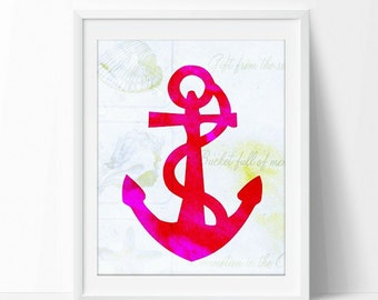 Anchor art printable,pink and red, distress background, beach art decor, instant download, 8x10, sea decor