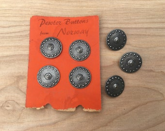 Vintage Pewter Buttons, Norway, Norwegian