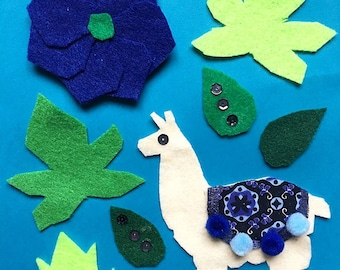 Felt Llama Craft Kit - DIY Craft - Llama Art - Nursery Décor - Fabric Crafts - DIY Kits for Adults - Craft Kits for Kids - Baby Shower Gift