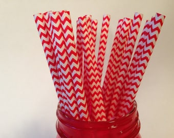 Red Chevron Paper Straws,  Paper Straws, Red Paper Straws, Chevron Paper Straws, Party Straws, Chevron Straws, Red Straws,10 pcs