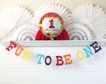 1st Birthday Banner & Balloon - 5 inch Letters - 1st Birthday Party Decorations First Birthday Rainbow Banner Fun To Be One Banner 1 Balloon