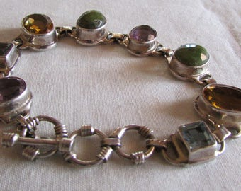 Sterling Silver Link Toggle Bracelet with Assorted Faceted Stones