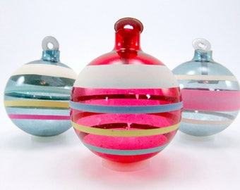 WWII War Era Unsilvered Glass Christmas Ornaments 1940s Striped Paper Hanger Christmas Decorations Baubles