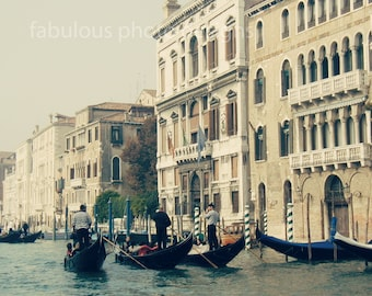 "Venice, Italy ""The Gondoliers"" Boat Fine Art Photograph, Travel Photography, Gondola, Gondolier,  Wall Decor, Grand Canal"