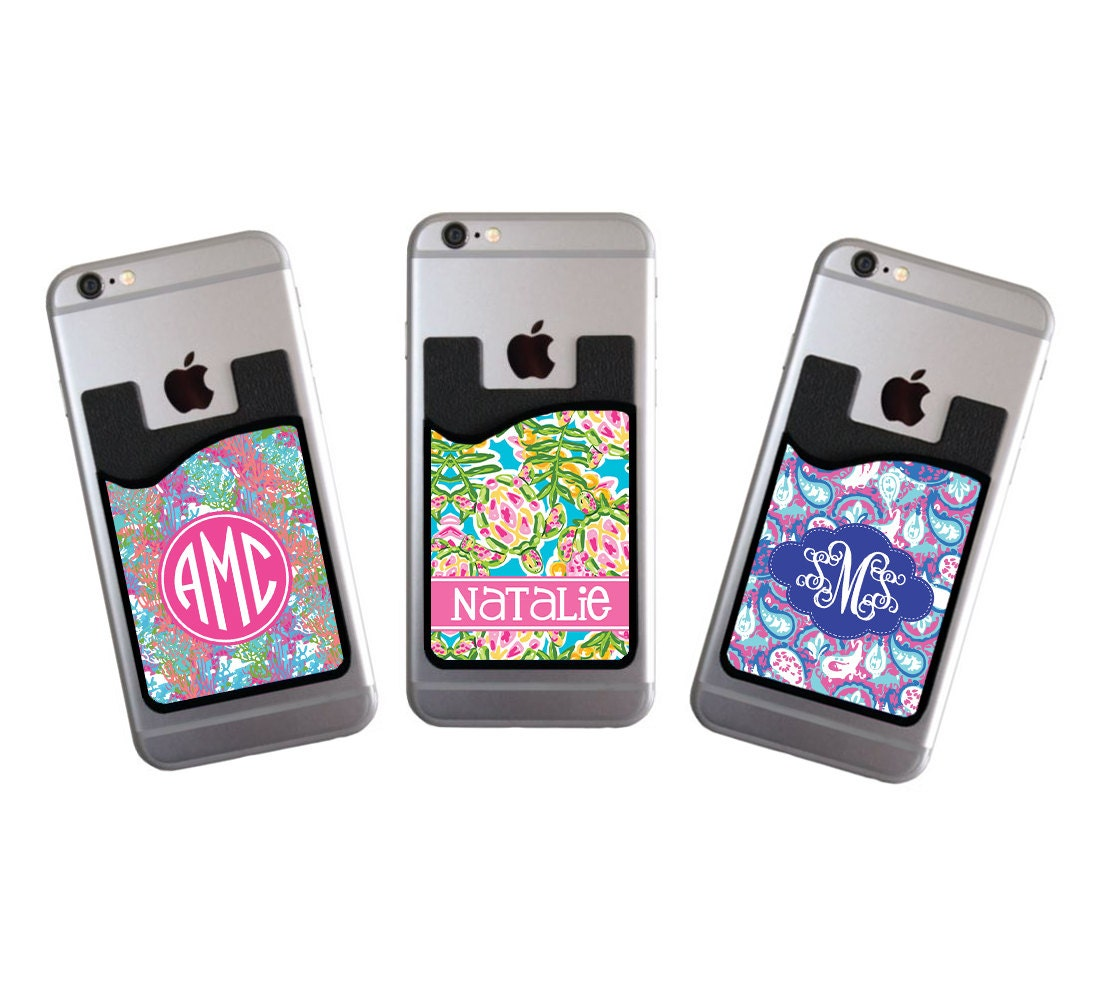 Monogrammed Personalized Cell Phone Card Caddy Phone Wallet