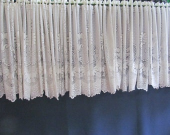 White lacy lace valance.