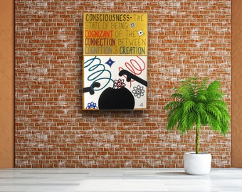 Consciousness---Oversized Acrylic Painting---Words on Canvas 36x24