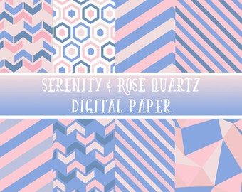 Geometrische Digital - Rosenquarz digitale Papier - Serenity digitalem Papier - Pantone 2016 - Pastell geometrische digitale Papier - Scrapbooking
