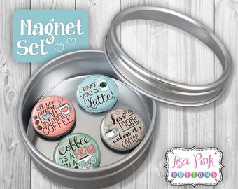 Magnet Set, Coffee Magnet Set, Magnets, Coffee Magnets, Refrigerator Magnets, Coffee Refrigerator Magnets, Gift for Coffee Lover, Coffee