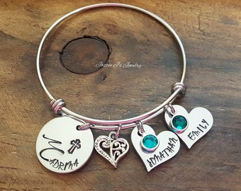 Handstamped Madrina Bangle, Personalized Madrina Bracelet, Baptistim Gift for Madrina, Will You Be My Madrina, Godmother Gift, Madrina Gift