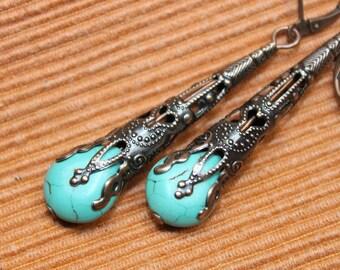 Turquoise Earrings Copper Earrings Boho jewelry Boho Earrings Dangle Earrings Drop Earrings Victorian Earrings Gift for women Gift for her