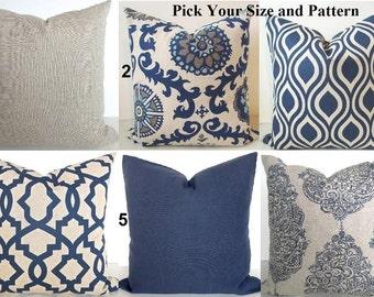 PILLOWS Navy Blue Throw Pillow Covers Dark Blue Tan Decorative Pillows Blue Pillows  Covers .ALL