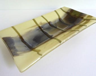 Rectangular Fused Glass Plate in French Vanilla, Brown and Aqua by BPRDesigns