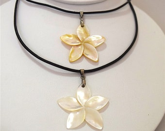Plumeria Necklace, Wholesale Discount, Mother of Pearl Plumeria Necklace, Stainless Steel Lobster Clasp, W7042