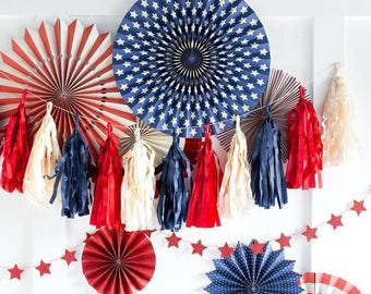 Red, White, and Blue Tassel Banner / July 4th Decor / 4th of July / Memorial Day / America / Tassel Banner
