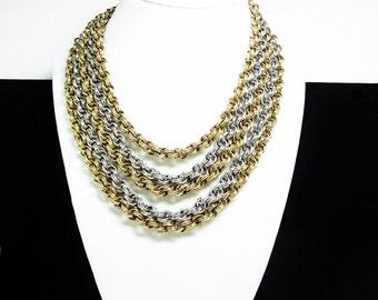Vintage Multi Chain Necklace - Mixed Metal Tones - Goldtone & Silvertone Chunky Retro Jewelry - Rhinestone Clasp