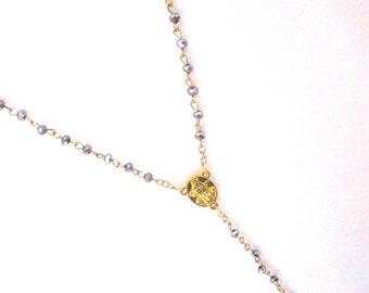 Long necklace rosary bead crystal