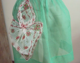 HOSTESS with the Mostest!  1950s Vintage Sheer Hostess Apron Green Organdy Nylon Scarf Pocket