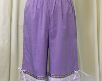 Lavender Purple Bloomers, Pantaloons, Knickers in Cotton-Lycra with Matching Eyelet Trim, Plaid Ribbon, Size XS