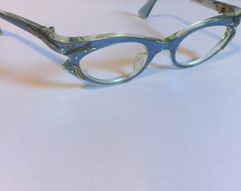 Blue Vintage Eyeglasses, Clear Blue Rhinestone Glasses, Cateye Glasses by Swank Blue Cateye Glasses, New Old Stock with Small Crack AS IS