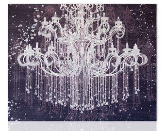 Modern Painting Chandelier Silver Glamour Ready To Hang Wall Art Decor  Pictures Living Room Bedroom Wall