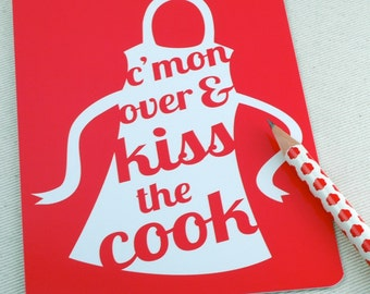 Dinner Party Invitations, Postcard Set - Kiss the Cook Set of 10 - Hostess Gift