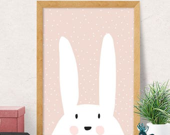 Bunny print, Nursery wall art, Modern Nursery decor, cute print, cute nursery,  bunny nursery, Nursery wall decor, Kids room decor, Minimal