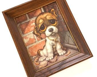 Vintage Big Eyes Big Eyed Puppy Dog Print Framed Sad Eye Puppy Print Pity Puppy Gia Framed Vintage Dog Mid Century 60s