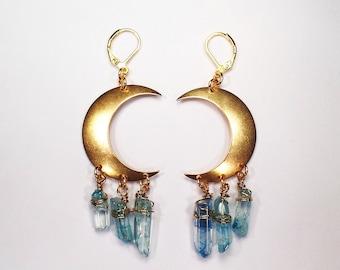 Crescent Moon Earrings - Raw Crystal Moon Earrings - Light Blue Crystal Earrings - Chandelier Healing Quartz Jewelry - Crescent Moon Jewelry
