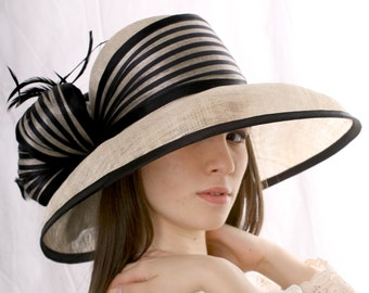 Kentucky Derby hat, Ivory with black hat, widebrim hat,  Tea party hat, Wedding Party hat, Royal Ascot hat, derby style hat, Edwardian hat