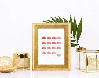 Coral and Mint Geometric Circle Print