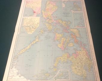 Vintage Map of Philippine Islands 1940s original Atlas Map of