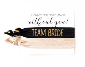 TEAM BRIDE Hair Tie Bridesmaid Gift | Champagne Black + Gold Hair Tie Favors, Bridesmaid Proposal Gift, Wedding Party Bridesmaid Hair Ties