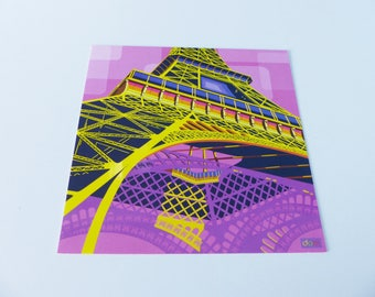 Eiffel Tower Paris yellow and purple square card