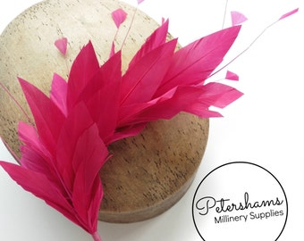 Stripped Diamond Coque & Goose Feather Wired Millinery Hat Mount - Cerise Pink