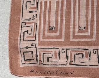 Vintage Brown and Tan Graphic Handkerchief -  Hanky Hankie
