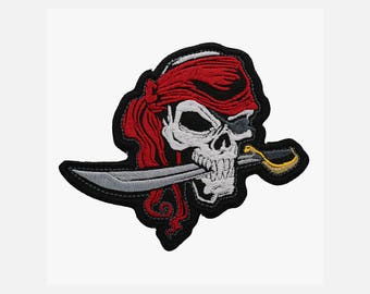 Pirate Skull embroidery biker patch