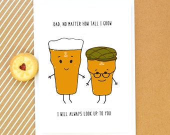 Funny Card for Dad, Dad Birthday Card, Father's Day Card, Beer, Funny Card, Dad Card, Funny Father's Day Card, Dad Quote, Illustration