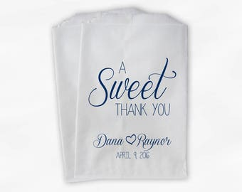 A Sweet Thank You Wedding Candy Buffet Treat Bags - Navy Blue Personalized Favor Bags with Names and Wedding Date (0153)