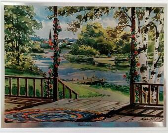 Vintage prints,Phil Austin, The Seasons. Etched in foil 4 prints. Spring, summer, autumn, winter.