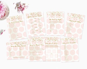 Pink and Gold Baby Shower Games Package, Price is Right, Word Scramble,  Baby Shower Games, Pink and Gold Instant Download203 Printable