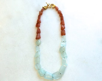 Sunstone and Aquamarine Nugget Necklace in 22kg Vermeil...