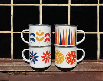 Retro Camper Mugs Set of Four, Vintage Design Enamel Mugs, Retro Enamel Mugs, 1960s Style Mugs, 1970s Style Mugs, Vintage Mugs